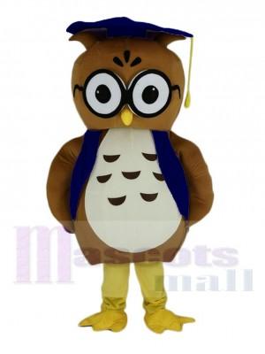 marron Docteur Chouette avec Bleu Chapeau Mascotte Costume