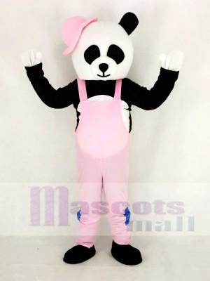 Panda avec Rose Salopette et Chapeau Mascotte Costume Dessin animé