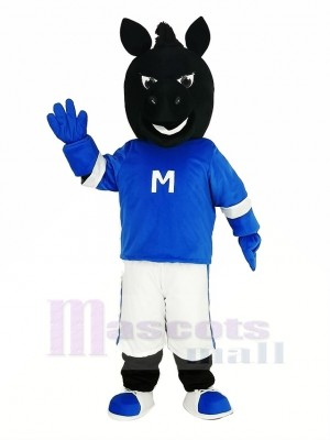 Noir Cheval dans Bleu Mascotte Costume Animal