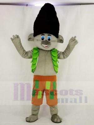 Trolls Garçon Elfe avec vert Gilet Mascotte Costume Dessin animé