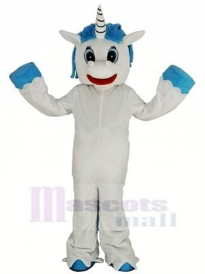 Licorne avec Bleu Crinière Mascotte Costume Dessin animé