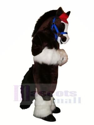 Mignonne Cheval avec Longue Queue Mascotte Les costumes Dessin animé