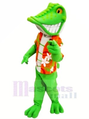 Souriant vert lézard Mascotte Costume Dessin animé