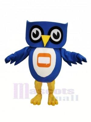 Charmant Bleu Hibou Mascotte Les costumes Pas cher