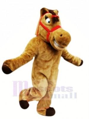Mignonne marron Cheval Mascotte Les costumes Dessin animé