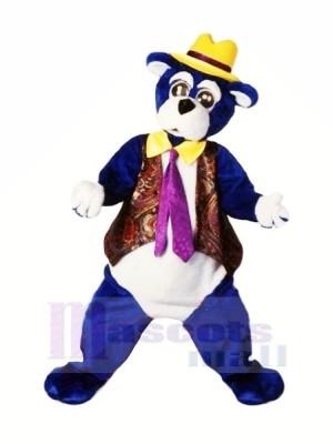 Bleu Ours avec Jaune Chapeau Mascotte Les costumes Dessin animé