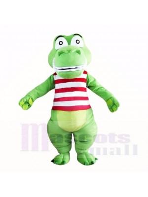 Vert Mignon Crocodile avec Rouge et Blanc Chemise Costumes De Mascotte Dessin animé