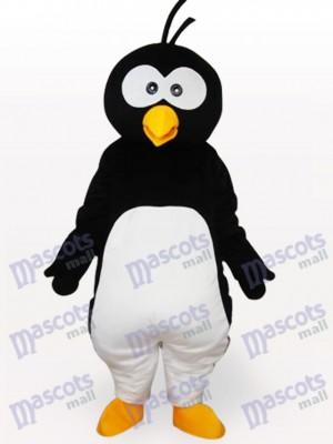 Costume de mascotte adulte en peluche courte de pingouin noir