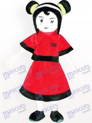Costume de mascotte adulte rouge habillé de fille de dessin animé