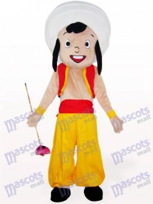 Costume de mascotte de dessin animé jaune garçon arabe
