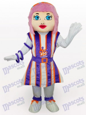 Costume de mascotte adulte pourpre fille cheveux Cartoon