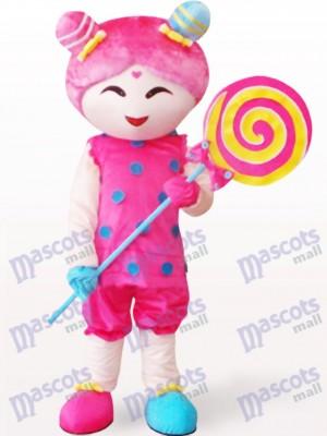 Costume de mascotte adulte de dessin animé de fille de sucrerie