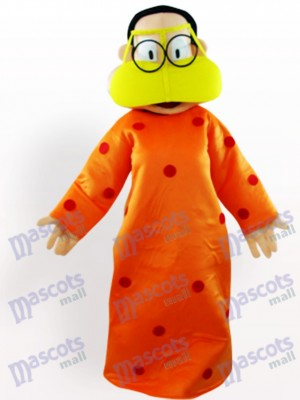 Grosse femme en costume orange de mascotte adulte de vêtements de dessin animé
