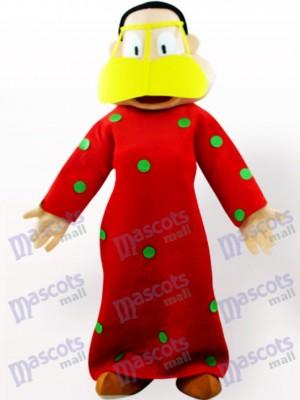 Grosse femme en costume rouge de mascotte adulte de vêtements de dessin animé