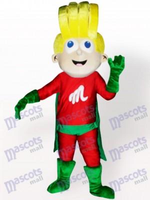 Costume de mascotte adulte de super garçon de bande dessinée