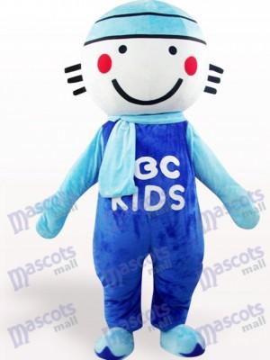 Costume de mascotte adulte de poupée ronde tête bleue
