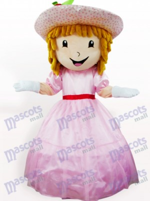 Costume de mascotte adulte de bande dessinée de fraise rose de shortcake