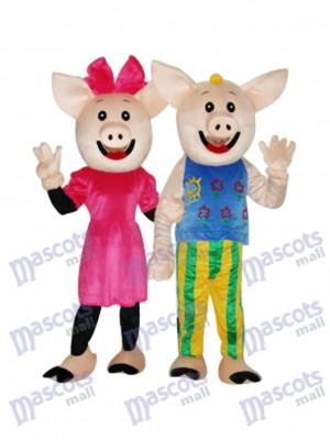Cacao Couple Cochon Mascotte Costume Adulte Animal
