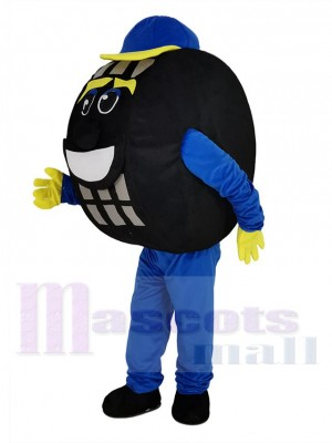 Bleu et Noir Auto Pneu Taxi Pneu Mascotte Costume