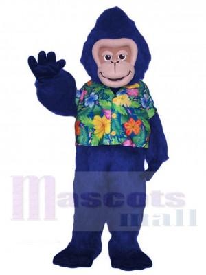 Bleu Gorille Singe dans Floral La chemise Mascotte Costume