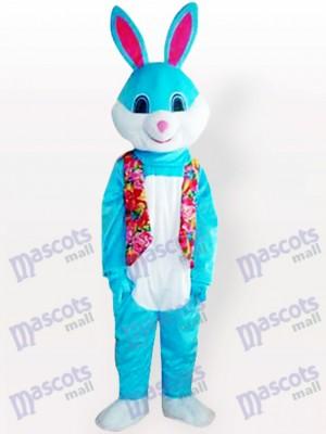 Costume de mascotte adulte de lapin de lapin de Pâques bleu