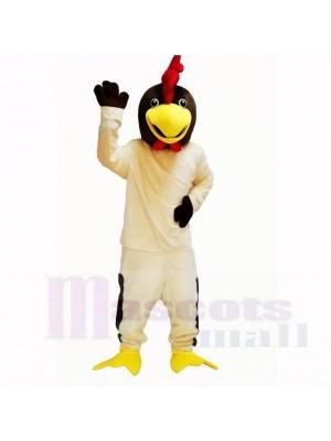 Amical Beige poulet avec blanc Chemise Costumes De Mascotte Dessin animé