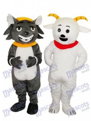 Déguisement de mascotte de chèvre et de loup mauve grise
