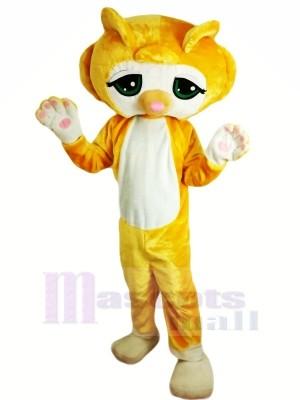 Jaune Chat Mascotte Les costumes Dessin animé