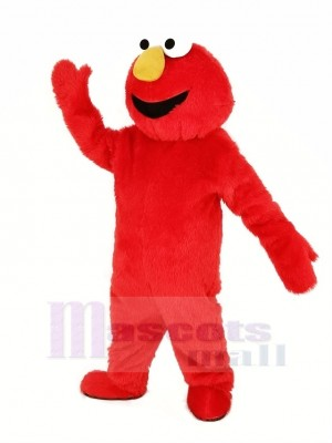 rouge Poilu Monstre Elmo Mascotte Costume Dessin animé