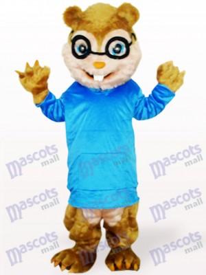 Écureuil bleu avec de longs cheveux et des dents courtes Costume de mascotte adulte animaux