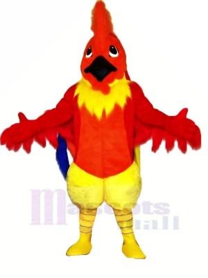 Marrant rouge Coq Mascotte Les costumes Dessin animé