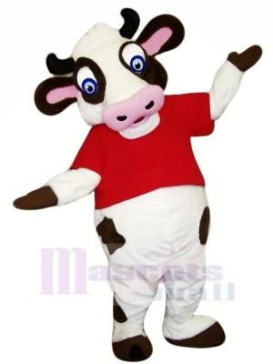 Drôle Vache avec rouge T-shirt Mascotte Les costumes Dessin animé