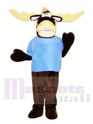 Drôle élan avec Bleu T-shirt Mascotte Les costumes Animal