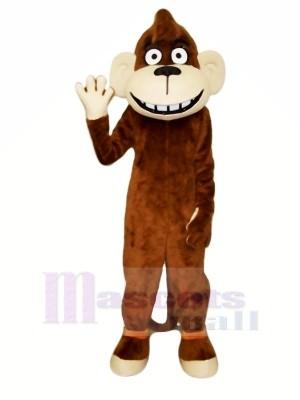Heureux marron Singe Mascotte Les costumes Dessin animé