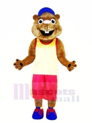 marron Marmotte avec Des sports Costume Mascotte Les costumes
