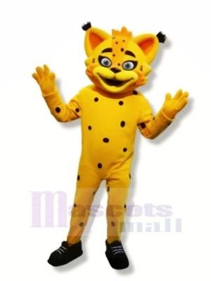 Jaune Lynx Mascotte Les costumes Dessin animé