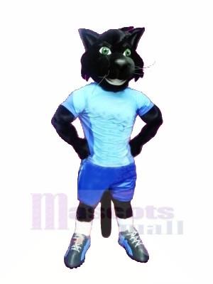 sport Noir Chat Mascotte Les costumes Dessin animé