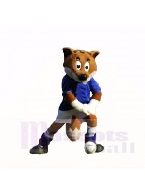Bleu Football Renard Costumes De Mascotte Dessin animé