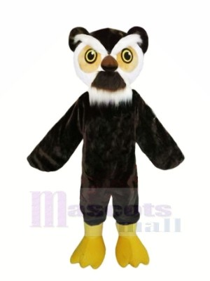 Noir Hibou avec blanc Les sourcils Mascotte Les costumes Animal