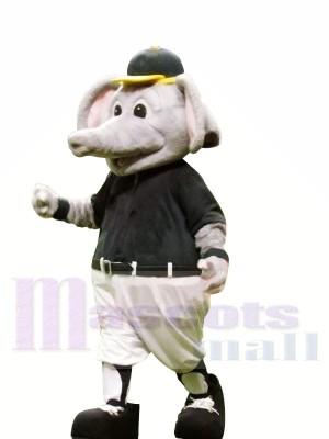 sport l'éléphant avec Jaune Chapeau Mascotte Les costumes Animal