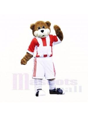 Football Ours avec rouge et blanc T-shirt Costumes De Mascotte École