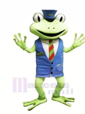La grenouille avec Bleu Gilet Mascotte Les costumes
