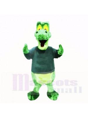 vert Alligator avec Noir Chemise Costumes De Mascotte École
