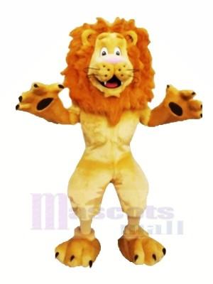 Heureux Velu Lion Mascotte Les costumes Dessin animé