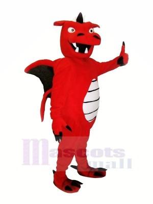 rouge Fort Dragon Mascotte Les costumes Dessin animé