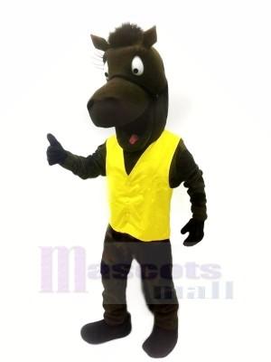 Noir Cheval avec Jaune Gilet Mascotte Les costumes