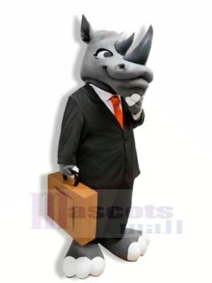 Gentilhomme Gris Rhinocéros Mascotte Les costumes Adulte