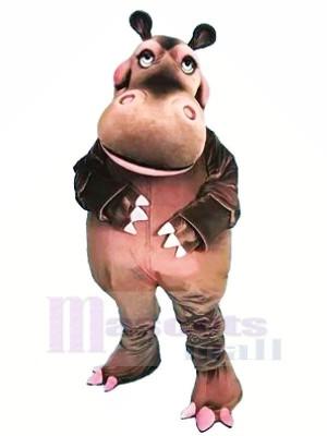 Heureux Hippopotame Mascotte Les costumes Dessin animé