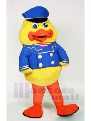 Papa canard avec Bleu Chapeau Mascotte Les costumes Dessin animé