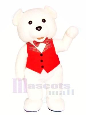 blanc Nounours Ours avec rouge Gilet Mascotte Les costumes Dessin animé